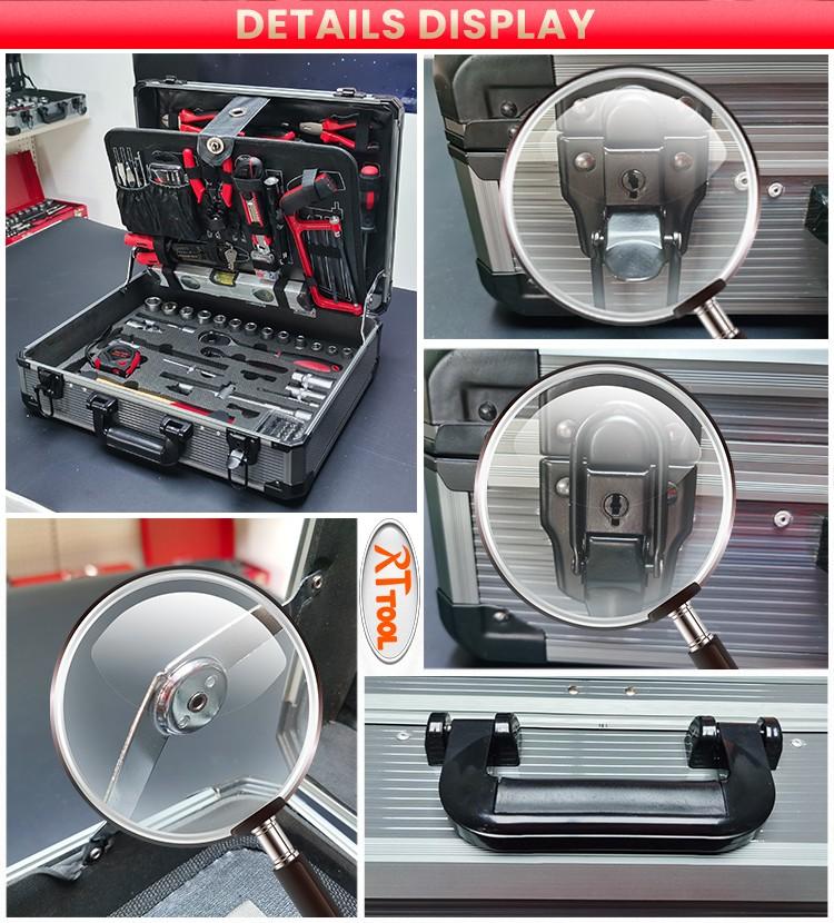RTTOOL 120pcs Aluminum Case Garage Mechanics Tool Set Complete Box Working Tools Set