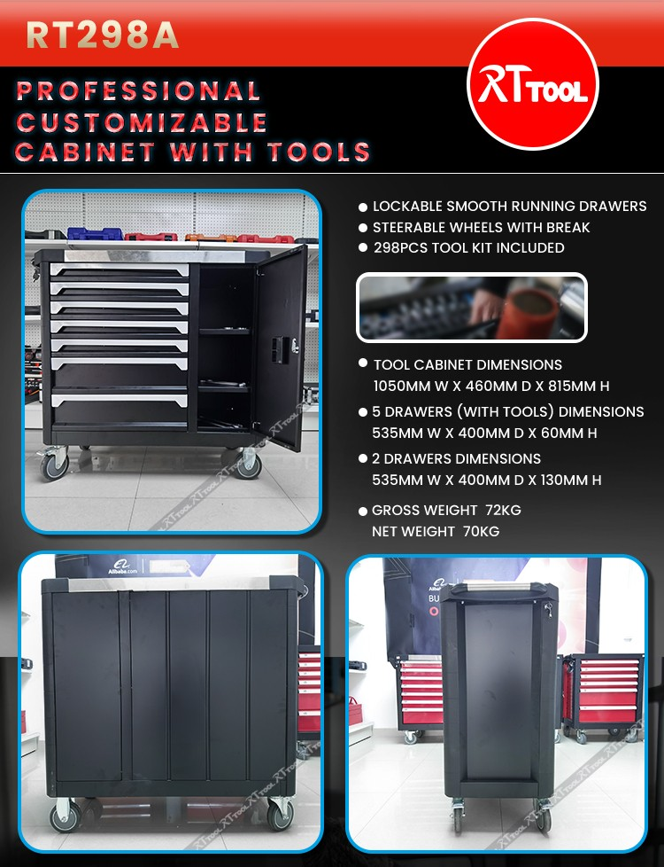 298pcs Hot Storage Metal Trolley Cabinet with Hand Tools