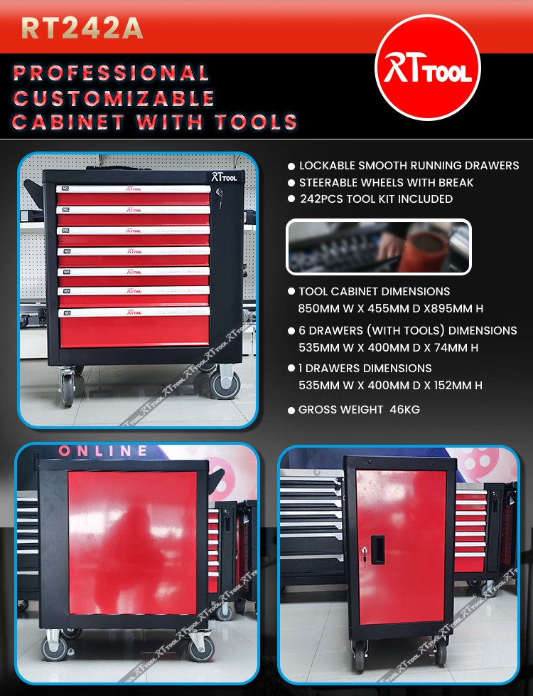242PCS Heavy Duty Trolley Cabinet With Hand Tool Set