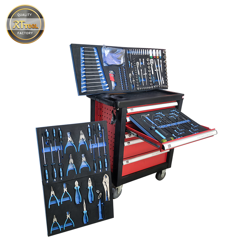 RTTOOL 175PCS Tool Set Trolley Case,Lockable Tool Cabinet Rolling Tool Storage Chest Drawers