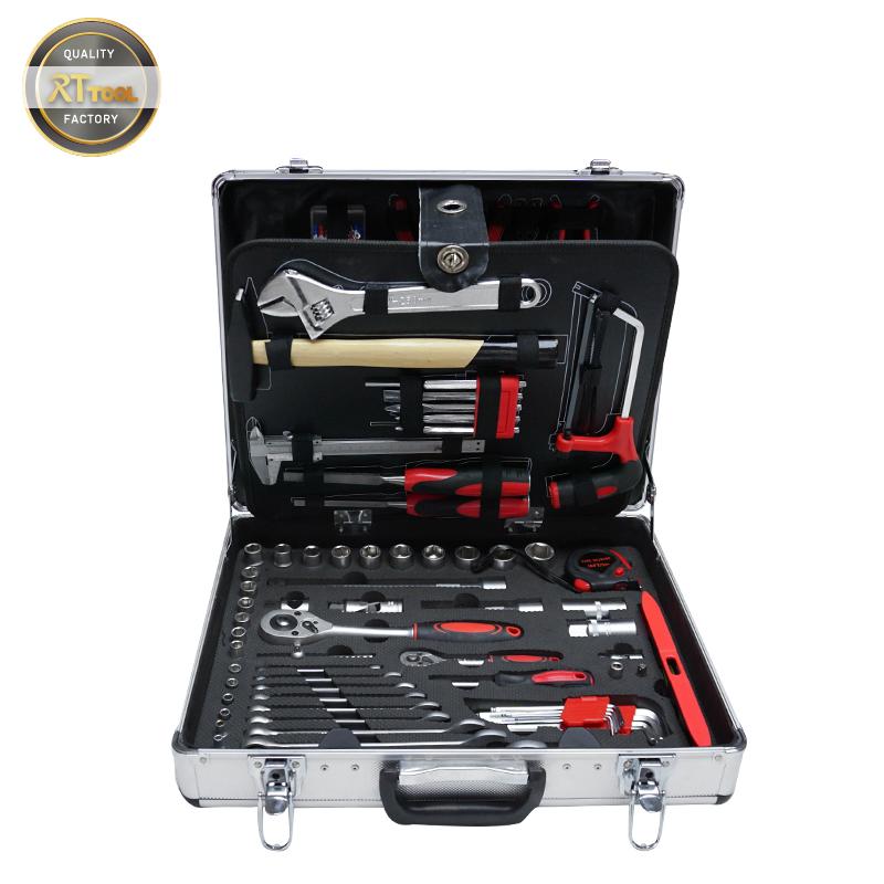 RTTOOL 133pcs Aluminum Case Garage Mechanics Tool Set Complete Box Working Tools Set